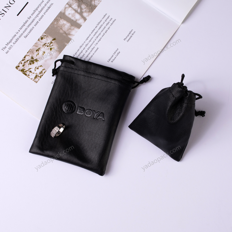 Pu leather drawstring pouch in perfect debossed finished
