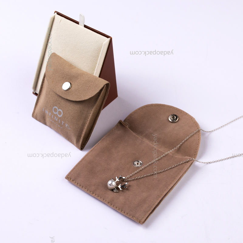 Suede button pouch for jewelry packaging