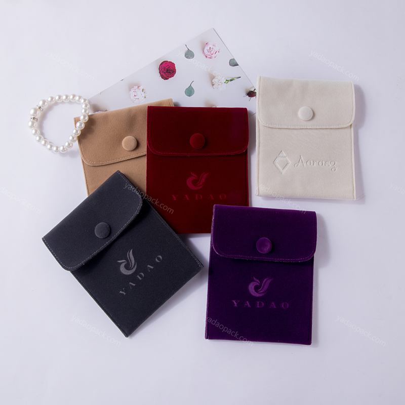 Yadao square jewelry pouch with button closure