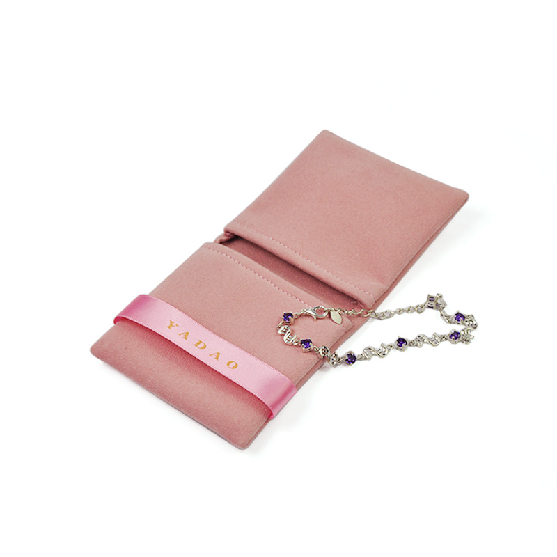 Yadao double side  microfiber  jewelry pouch with ribbon  for ring necklace factory
