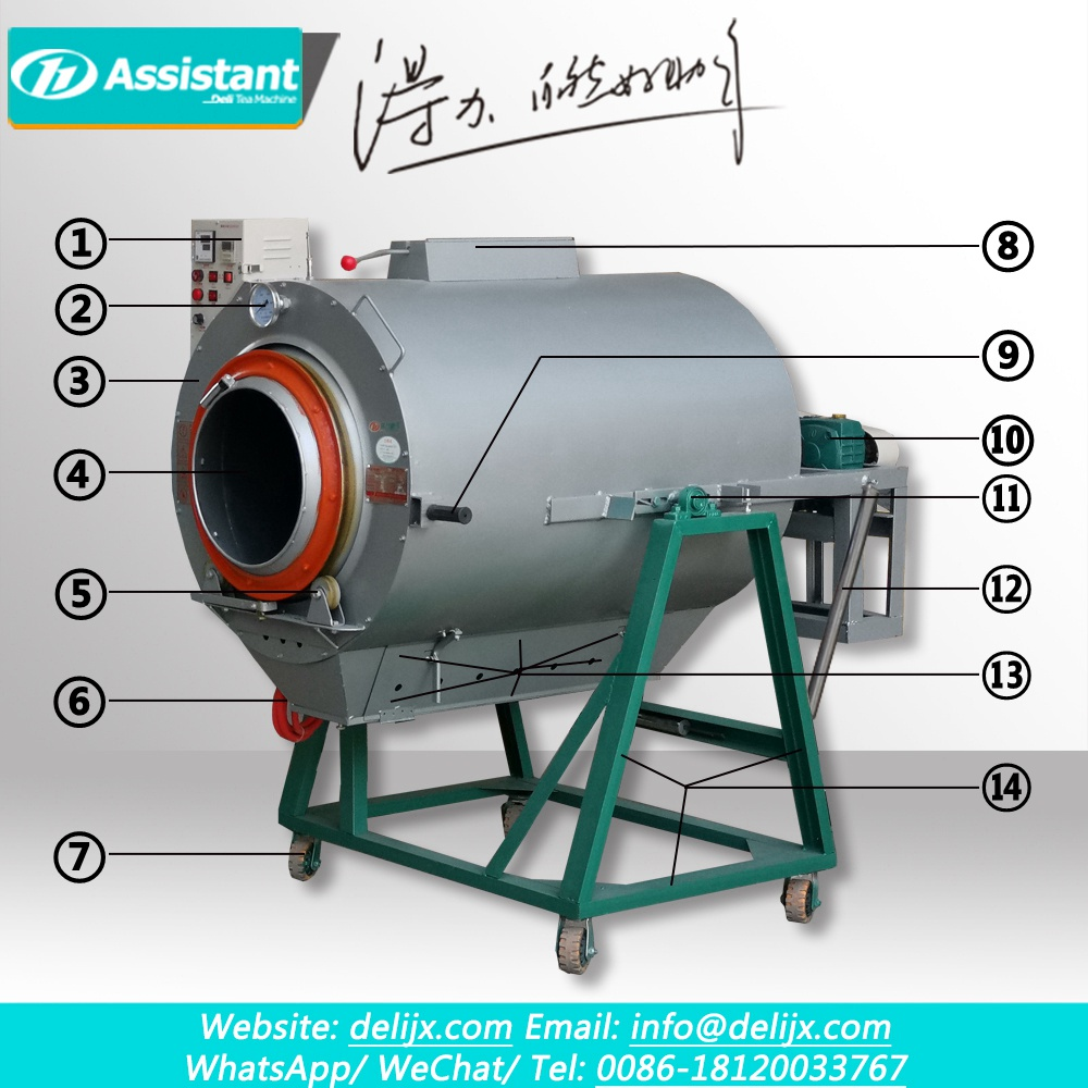 90cm Diameter Cylinder Green Tea Leaf Roasting Machine DL-6CST-90