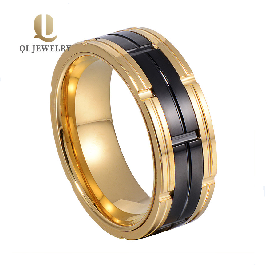 Red Two-Tone Tungsten Grooved Wedding Band Anniversary Ring