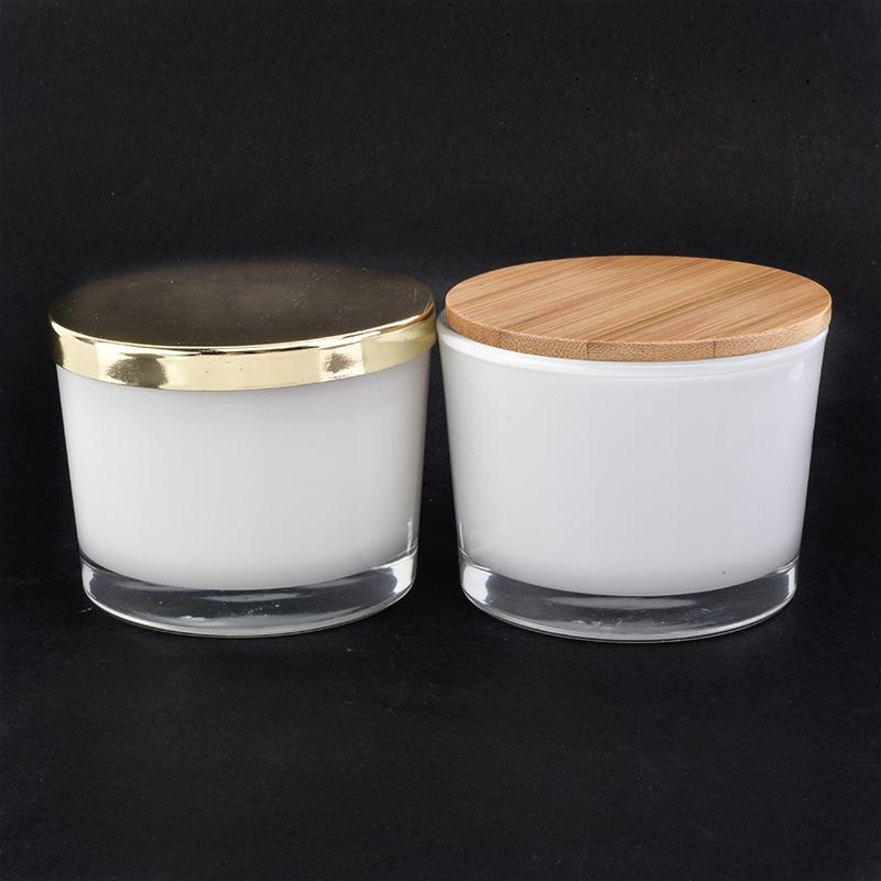 4oz white glass candle jar