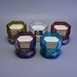 Glass Candle Jars with Polygon Design for Home Decor Scented Candles