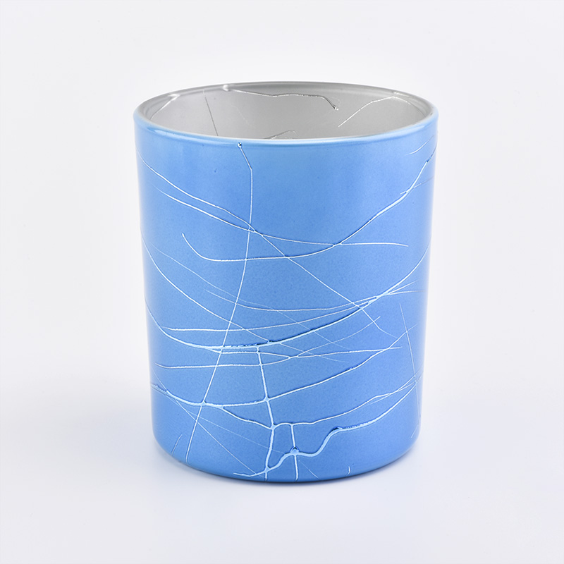 410ML Glass Candle Holders Plating Candle Jars Blue  Wholesale