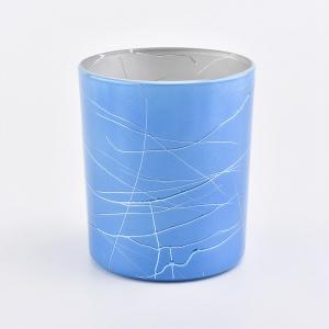 410ML Cam Mumluklar Kaplama Mum Kavanozları Mavi Toptan