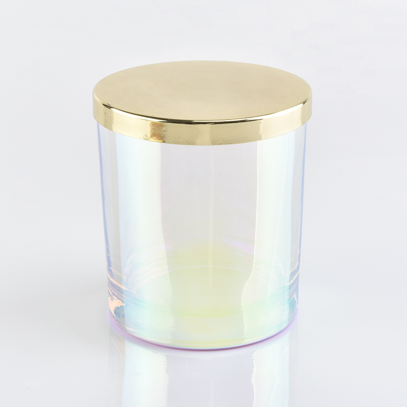 6oz Iridescent Glass Candle Jar With Gold Lids