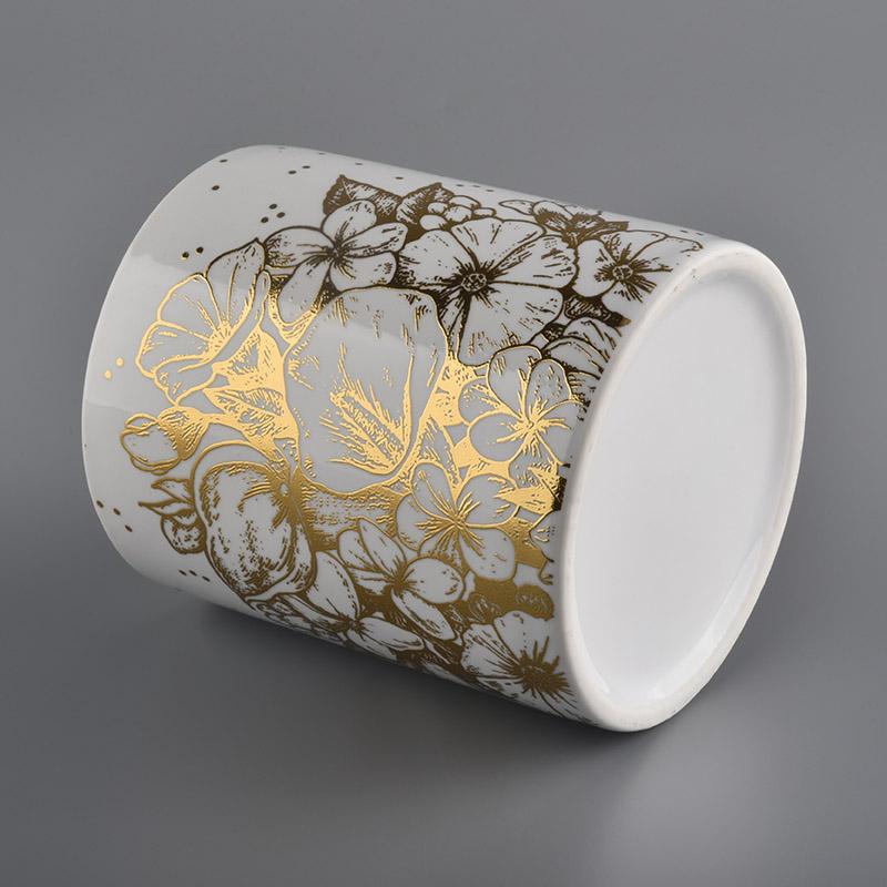Ev dekor için beyaz seramik mum kavanoz altın çıkartması