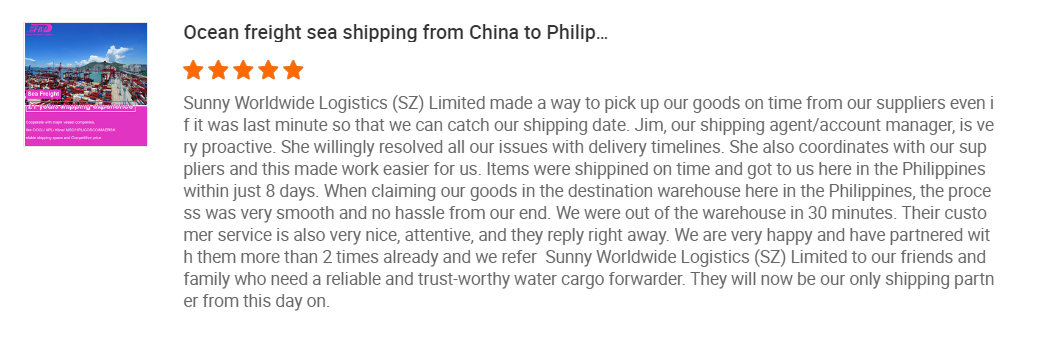 Sunny Worldwide Logistics Jim\'s story of serving Filipino customers---------Served customers have a 99.9% reuse, multiple suppliers free to collect goods and free storage