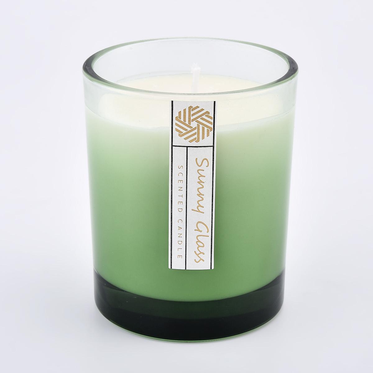 Popüler 10 oz püskürtme gradyan rengi dış cam mum jar mum yapımı için