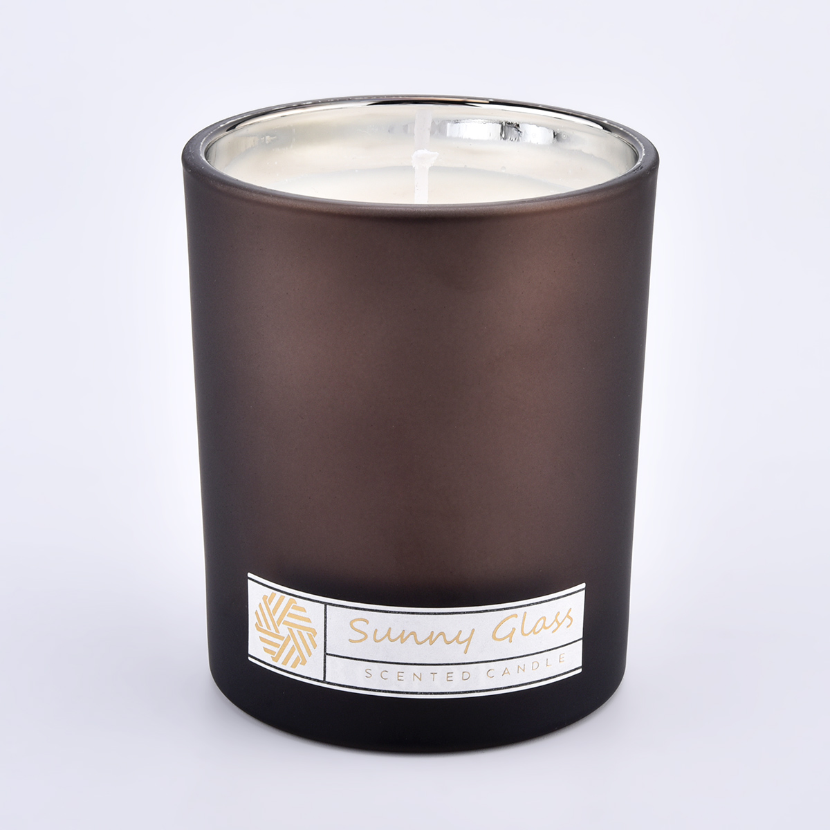 300ml glass candle jars with frosted painting exterior and electroplating interior