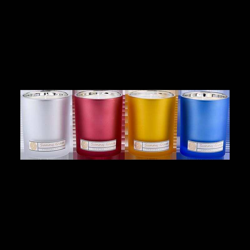 Unikátne sklenené sviečkové nádoby Veľkoobchod Vlastné farby Vnútri Elektroltované
