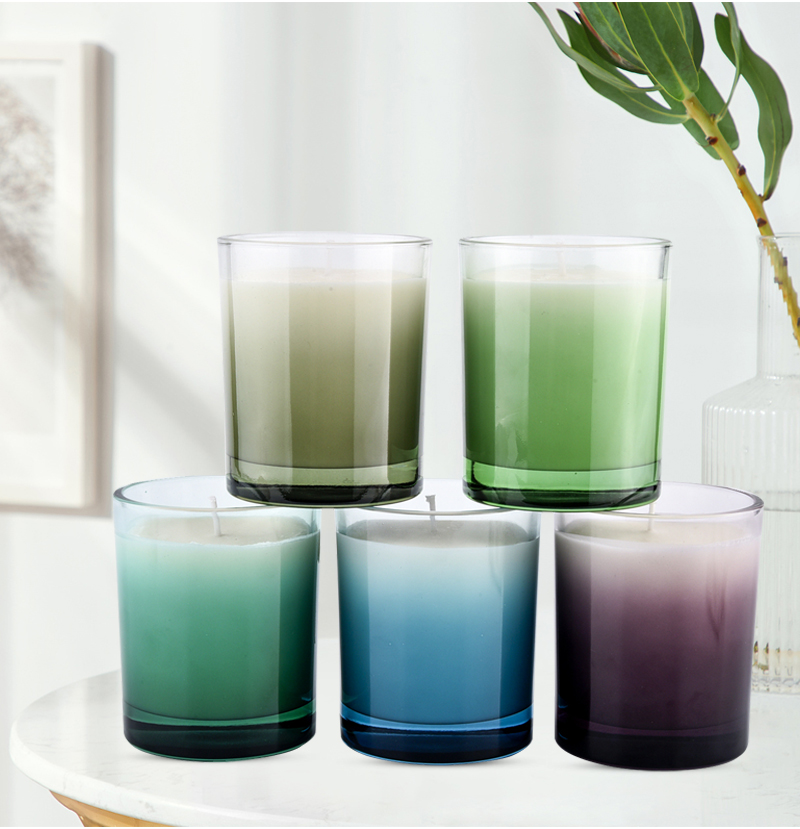 Custom candle glass jars gradient ramp decor 300ml