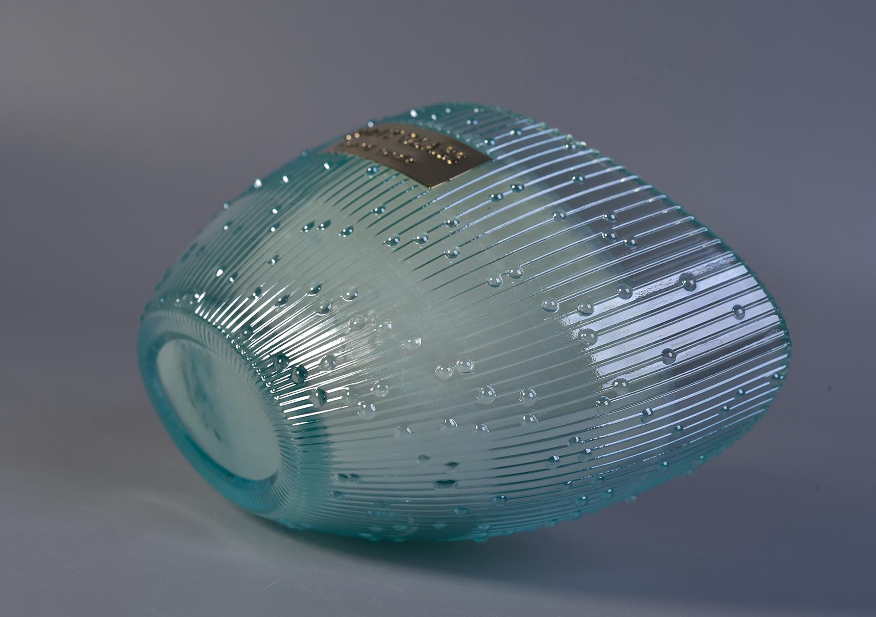 350 ml popüler mavi renk tekne şekli cam mumluk güneşli camdan