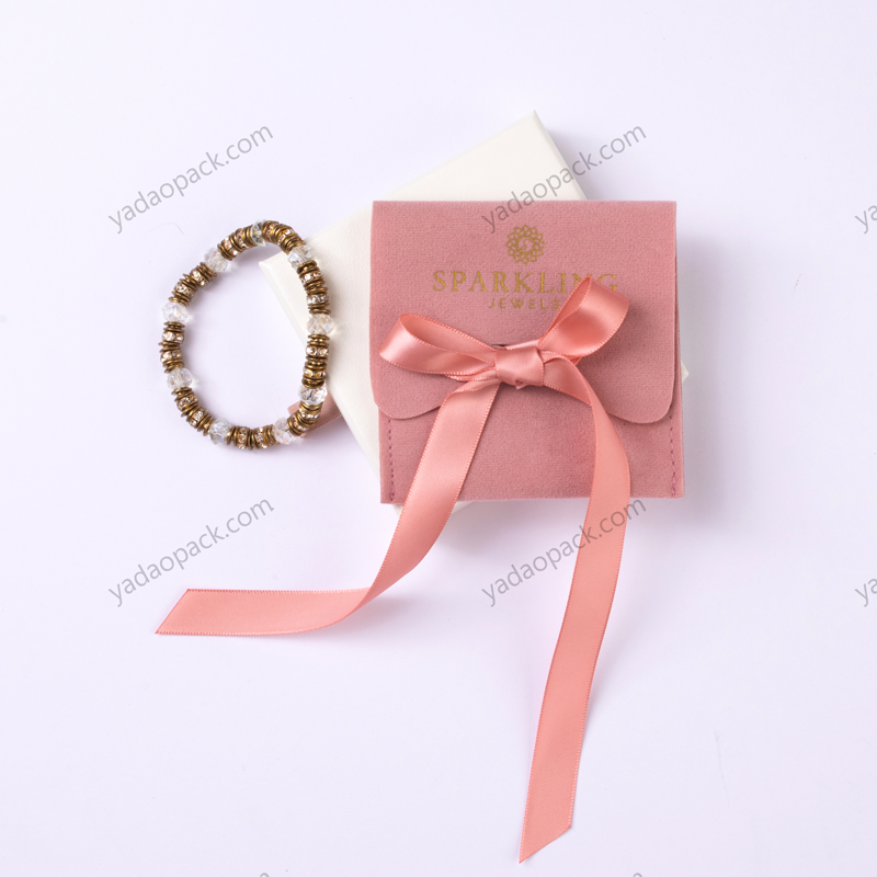 Half Flap Suede Pouch with Ribbon Bow