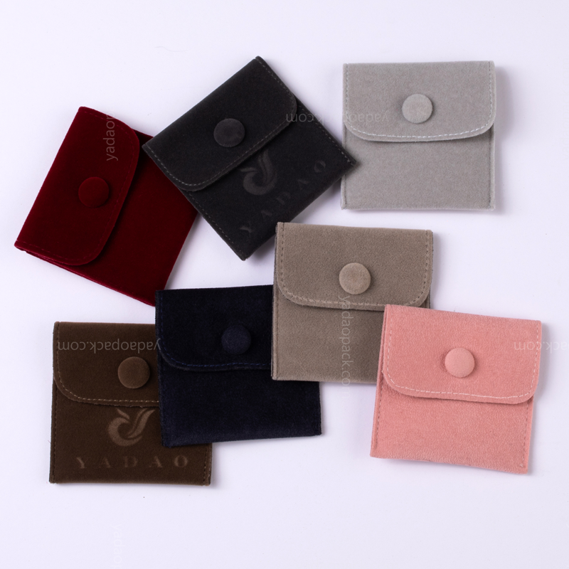 Yadao handmade mini square colorful velvet pouch with button for jewelry gift packaging