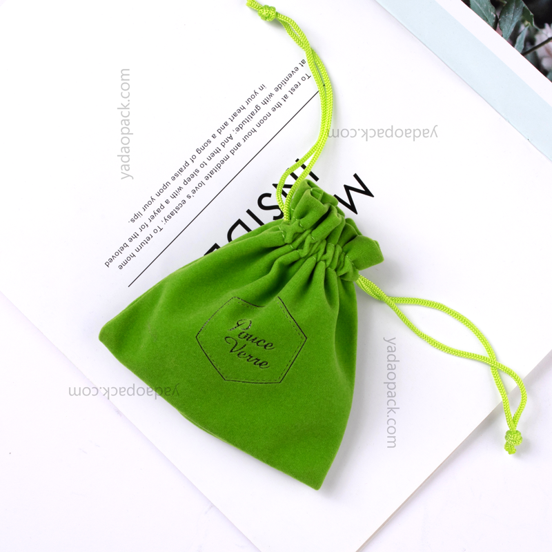 Spring green color pouch with drawstring closure