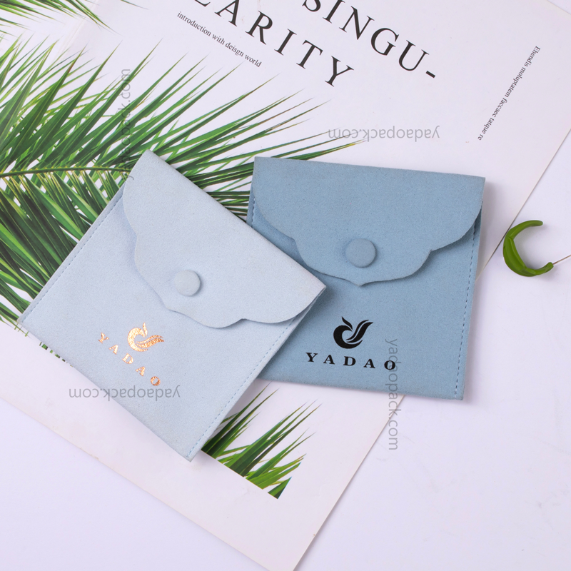 Yadao customize snap closure microfiber pouch jewelry packaging pouch bag with free logo printed