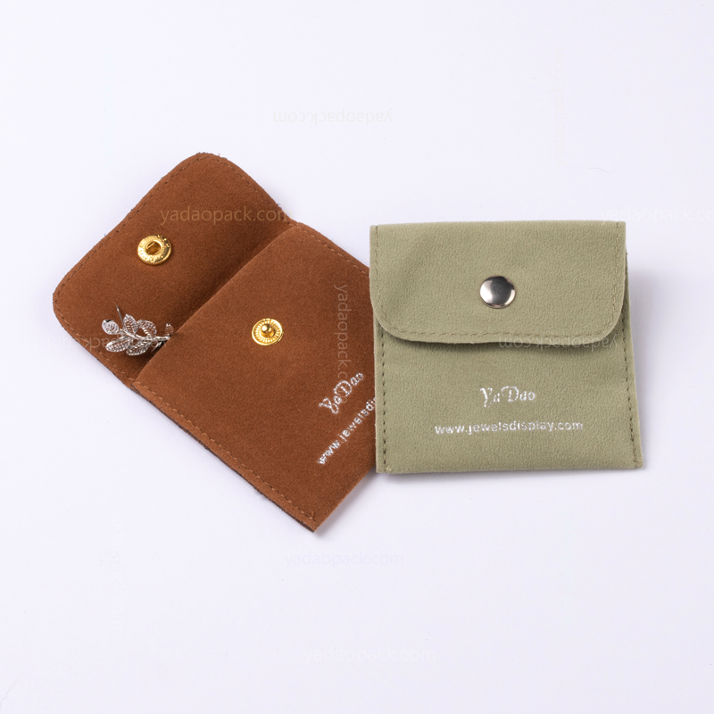 Classic velvet pouch with button closure